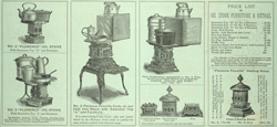 Advert for Rollins & Co's Florence Oil Stoves, reverse side